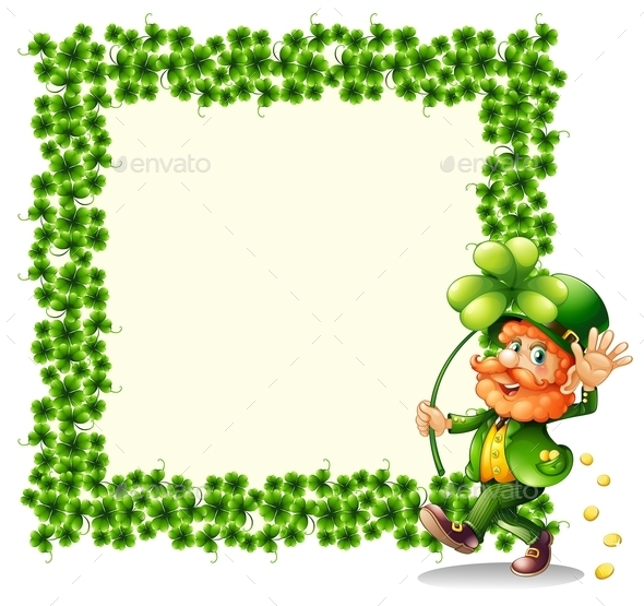 GraphicRiver Man holding a Clover Leaf beside a Frame 9521351