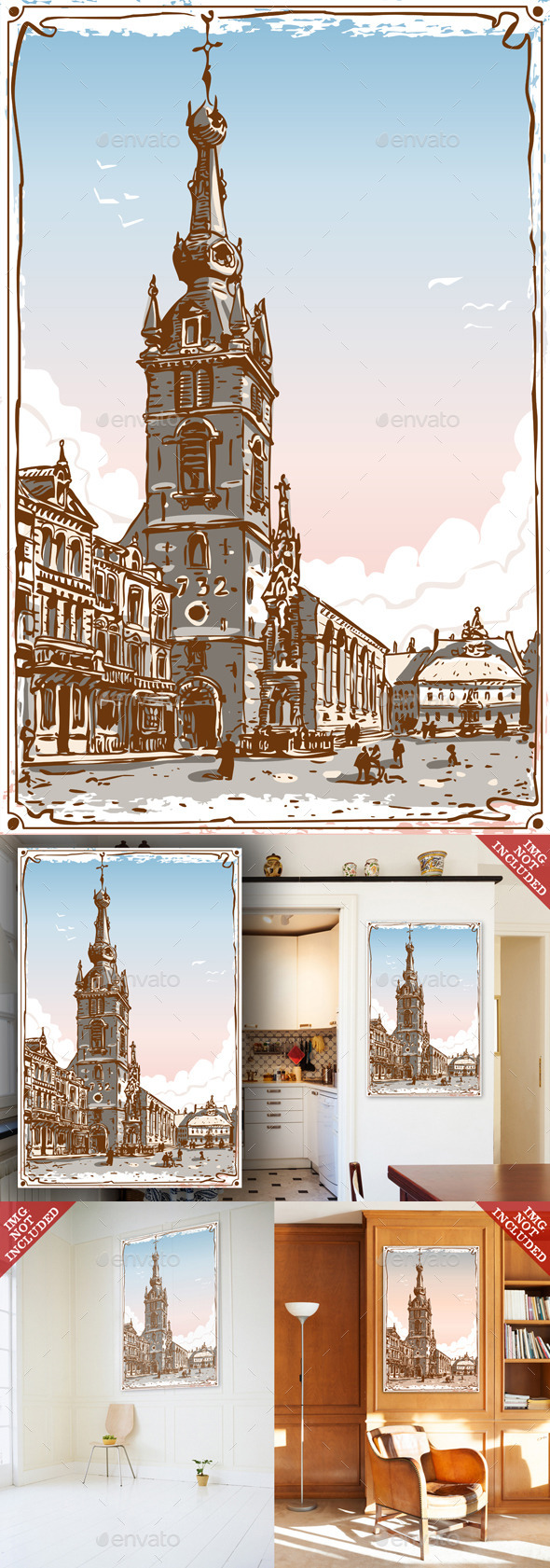GraphicRiver Vintage View of Chimay Church Place in Belgium 9521591