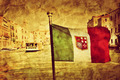 Venice Grand Canal and the flag of italy. Vintage art - PhotoDune Item for Sale