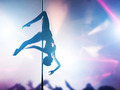Woman performs sensual, passionate pole dance in night club. Sexy body silhouette - PhotoDune Item for Sale