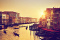 Venice, Italy. Gondolas on Grand Canal at gold sunset. Vintage - PhotoDune Item for Sale