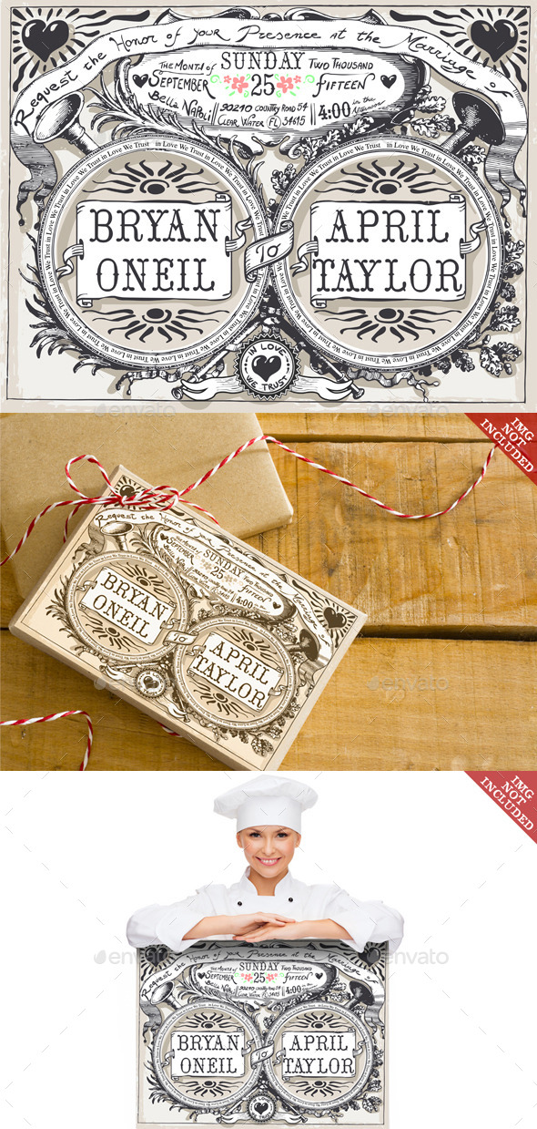 GraphicRiver Vintage Wedding Hand Drawn Banners and Labels 9521975