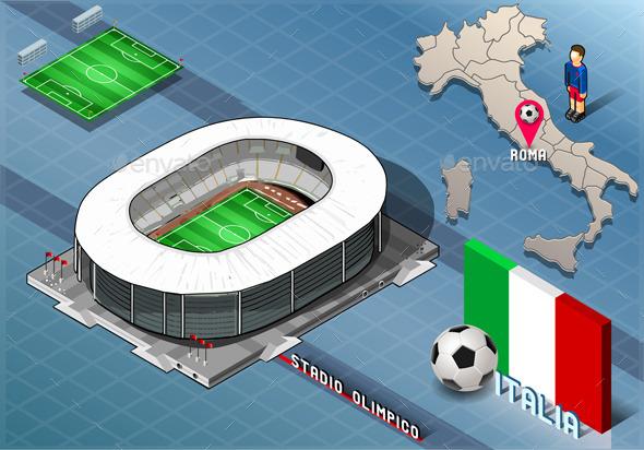 GraphicRiver Isometric Stadium Olimpico Rome Italy 9521978