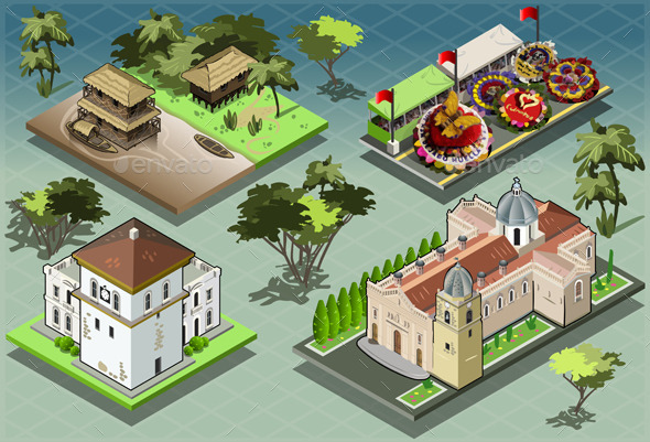 GraphicRiver Isometric Tiles of South American Buildings 9521981