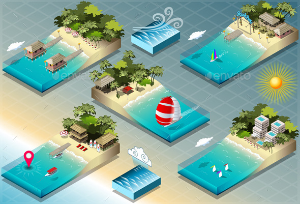 GraphicRiver Isometric Tiles of Carribean Holidays 9521985