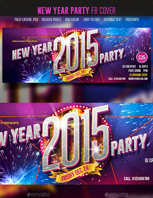 GraphicRiver New Year Party FB cover 9474905