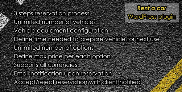 Plugin is used as a vehicle rental system. It can be used for renting any type of vehicle. Only single location rental is supported at the moment. Very elegant,