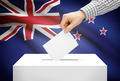 Voting concept - Ballot box with national flag on background - New Zealand - PhotoDune Item for Sale