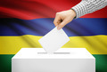 Voting concept - Ballot box with national flag on background - Mauritius - PhotoDune Item for Sale