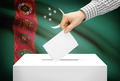 Voting concept - Ballot box with national flag on background - Turkmenistan - PhotoDune Item for Sale