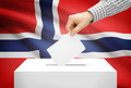 Voting concept - Ballot box with national flag on background - Norway - PhotoDune Item for Sale