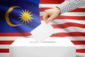 Voting concept - Ballot box with national flag on background - Malaysia - PhotoDune Item for Sale
