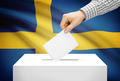 Voting concept - Ballot box with national flag on background - Sweden - PhotoDune Item for Sale