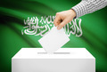 Voting concept - Ballot box with national flag on background - Saudi Arabia - PhotoDune Item for Sale