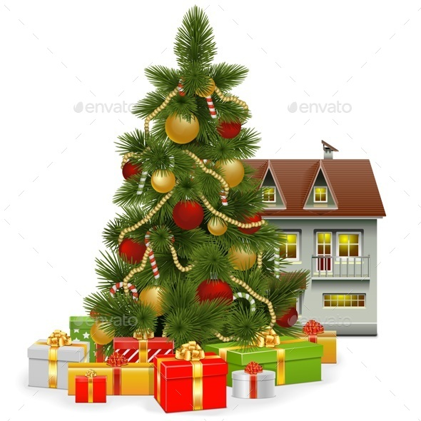 GraphicRiver Vector Christmas Tree with House 9522489