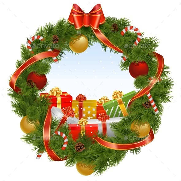 GraphicRiver Vector Christmas Wreath with Background 9522494