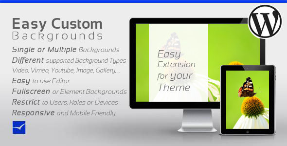 Easy Custom Backgrounds for WordPress allows you to easily define single or multiple backgrounds which can be restricted to users, user roles or devic