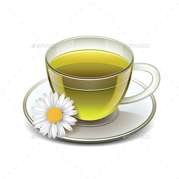 GraphicRiver Green Tea Cup with Chamomile 9523349