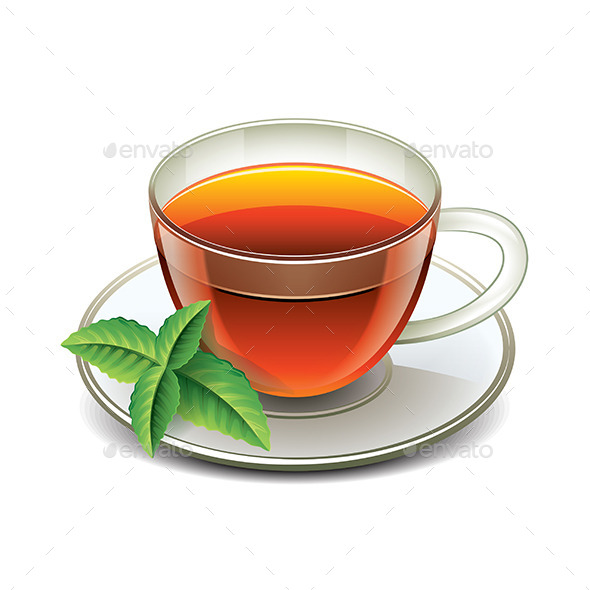 GraphicRiver Black Tea Cup with Mint Leaves 9523350