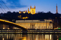 Famous view of Saone river at Lyon by night - PhotoDune Item for Sale