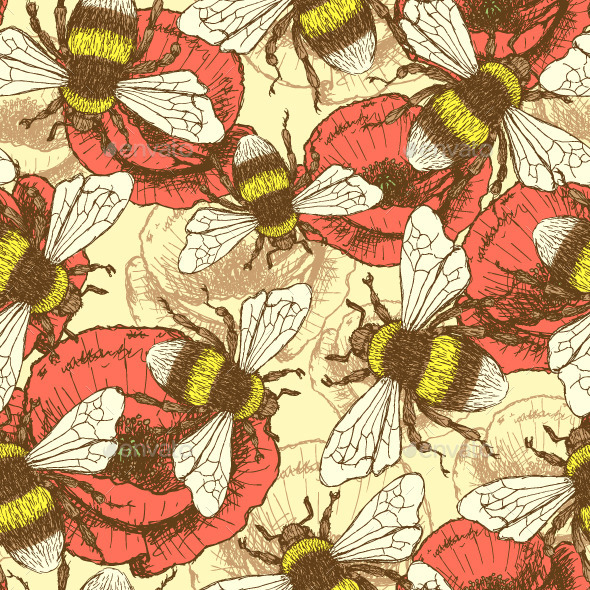 GraphicRiver Sketch Bee and Poppy in Vintage Style 9523684