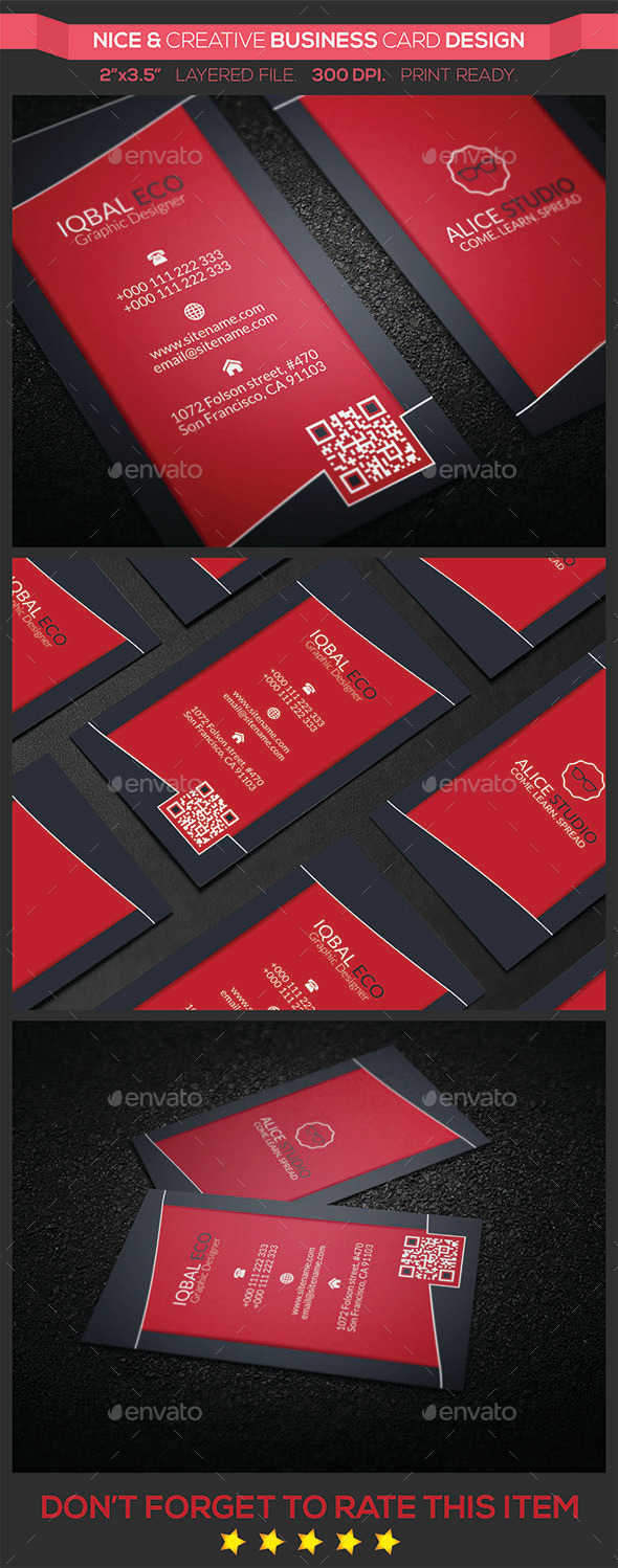 GraphicRiver Nice & Creative Business Card Design 9523720