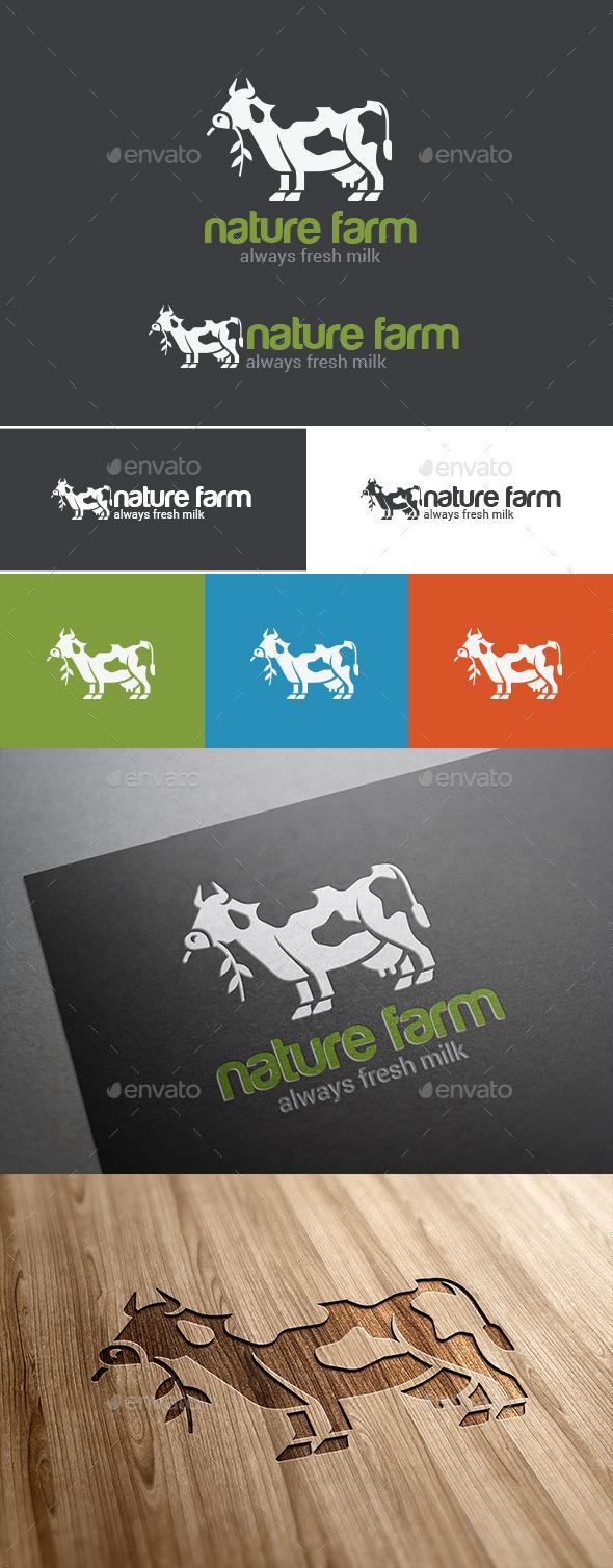 GraphicRiver Logo Cow Milk Green Farm 9524268