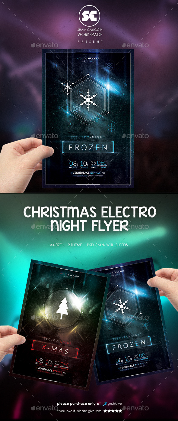 GraphicRiver Christmas Electro Night Flyer 9524339
