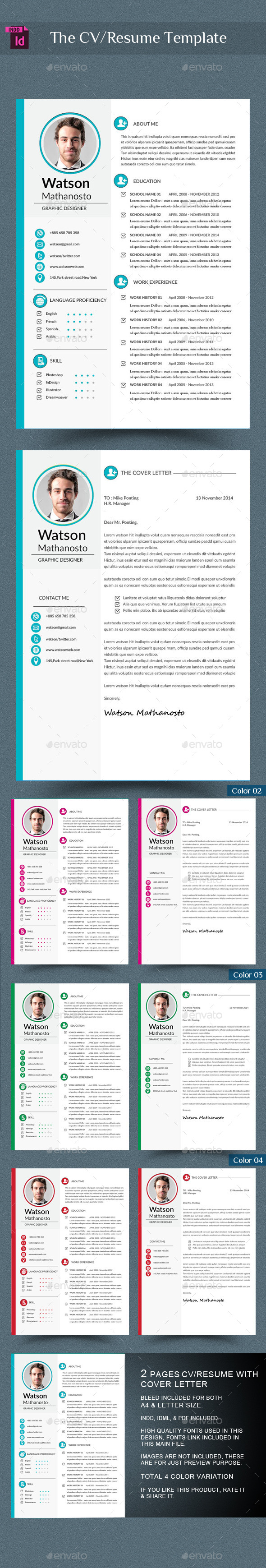 GraphicRiver CV Resume & Cover Letter InDesign 9524504