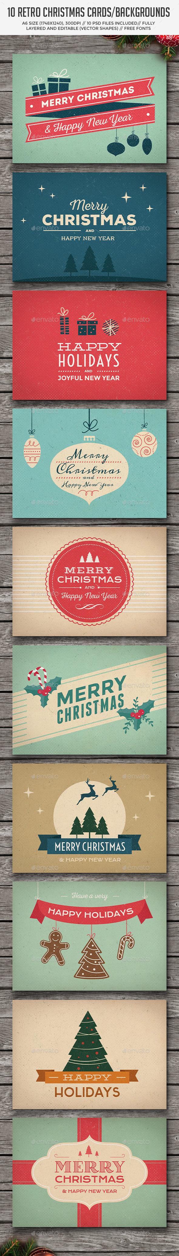 10 Retro Christmas Cards Backgrounds