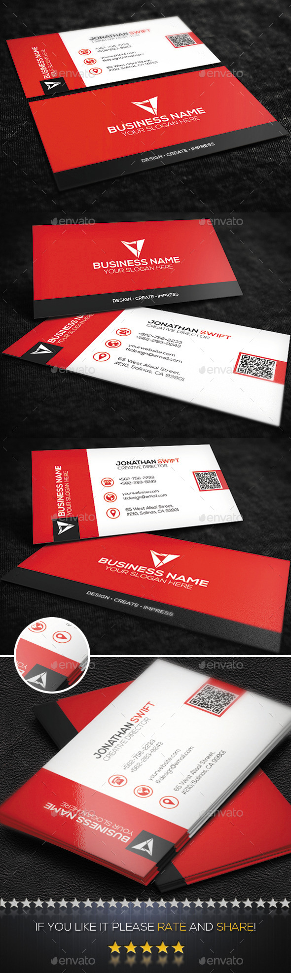 GraphicRiver Red Corporate Business Card No.09 9524613