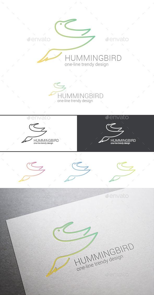 GraphicRiver Logo Hummingbird Line Art Abstract 9524978