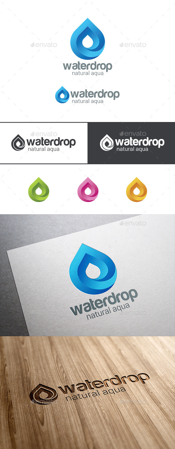 GraphicRiver Waterdrop Logo Infinite Mineral Water Droplet 9525045
