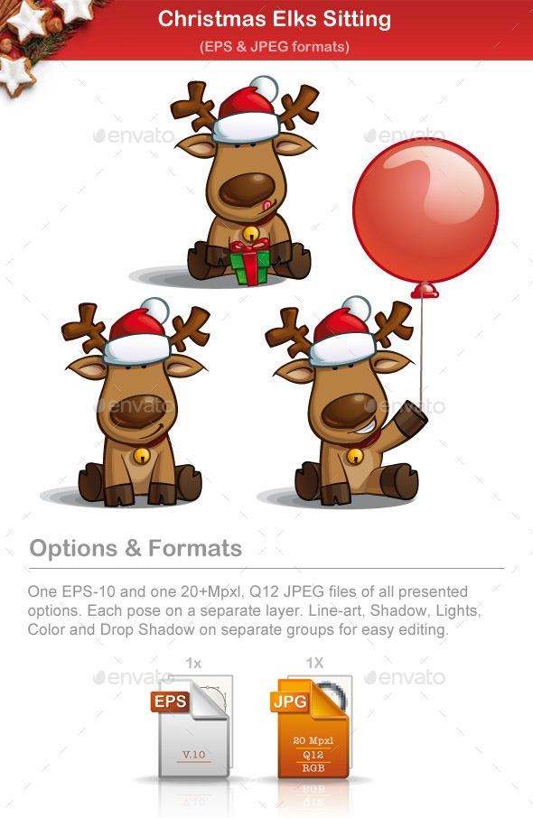 GraphicRiver Christmas Elks Sitting 9525228