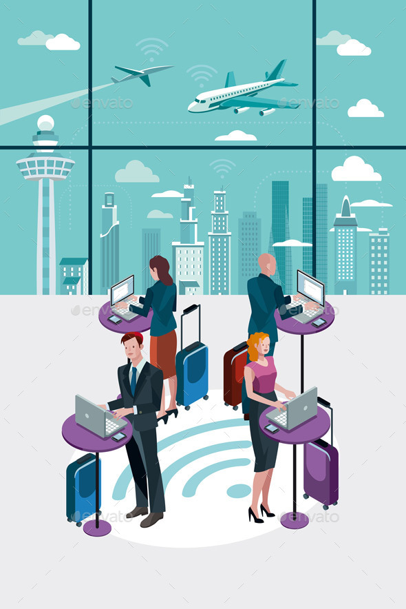 GraphicRiver Business People Using Laptop at Airport 9525589