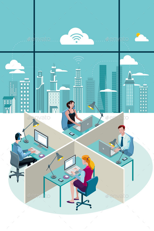 GraphicRiver Office Workers Sitting and City 9525612