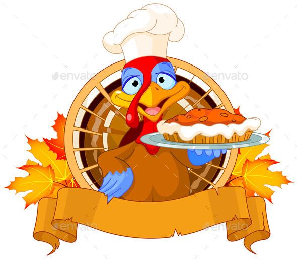 GraphicRiver Turkey holds Pie 9525614