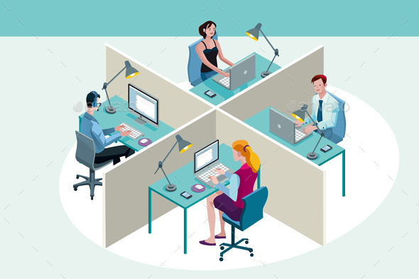 GraphicRiver Office Workers Sitting at Their Desks 9525631