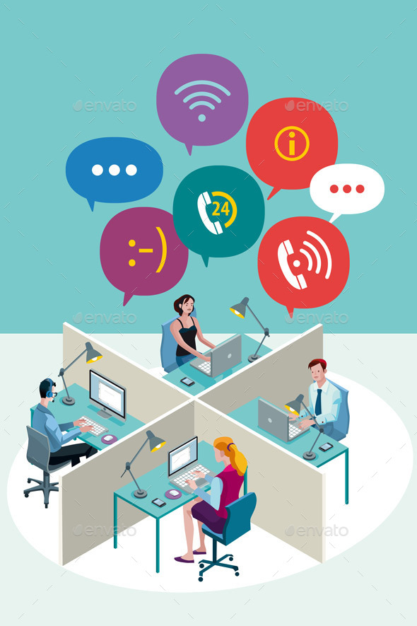 GraphicRiver Office Workers with Speech Bubbles 9525647