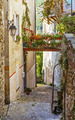 Narrow street with flowers in the old town Coaraze in France - PhotoDune Item for Sale