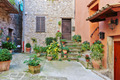 Cobbled patio with flowers in the old village Lyuseram, France - PhotoDune Item for Sale
