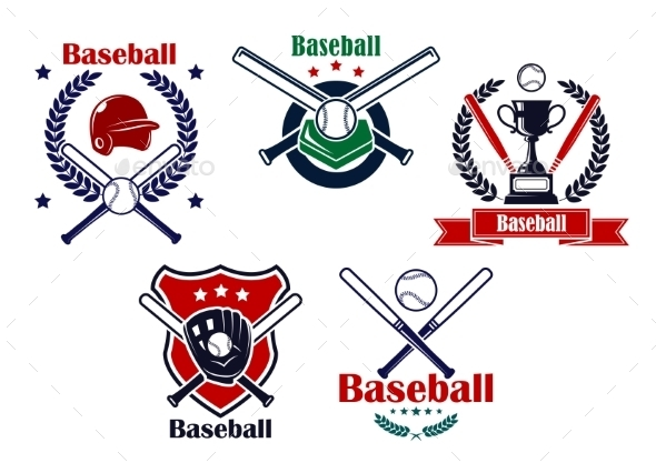 GraphicRiver Colored Baseball Emblems and Badges 9526035