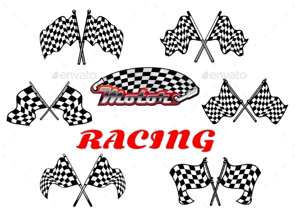 GraphicRiver Black and White Heraldic Checkered Racing Flags 9526042