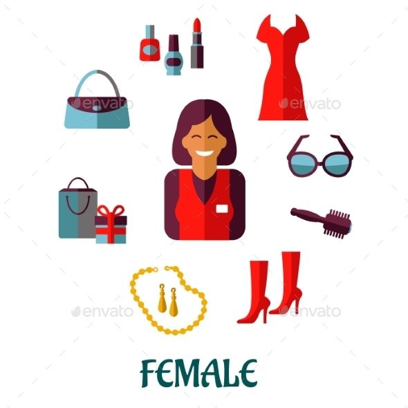 GraphicRiver Female Shopping Flat Icons 9526044