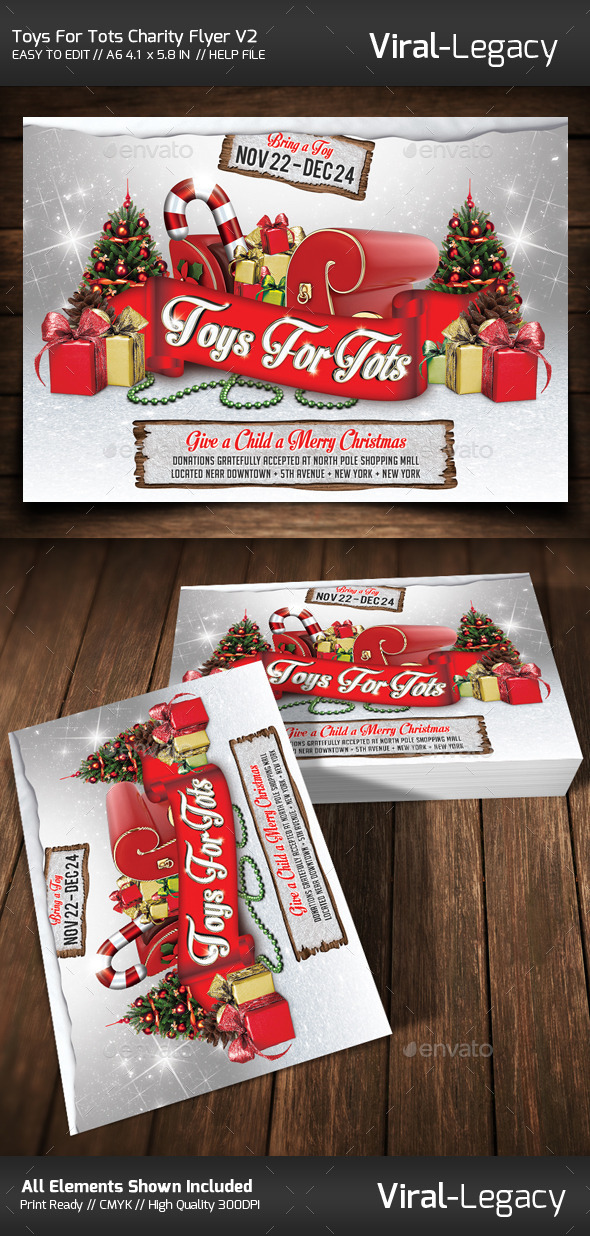 Printable Toys For Tots Logo : Toys for tots charity flyer v graphicriver