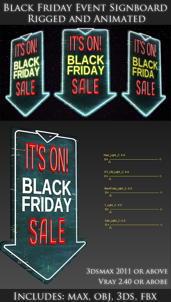 3DOcean Black friday 3D Sign board Rigged and Animated 9526175