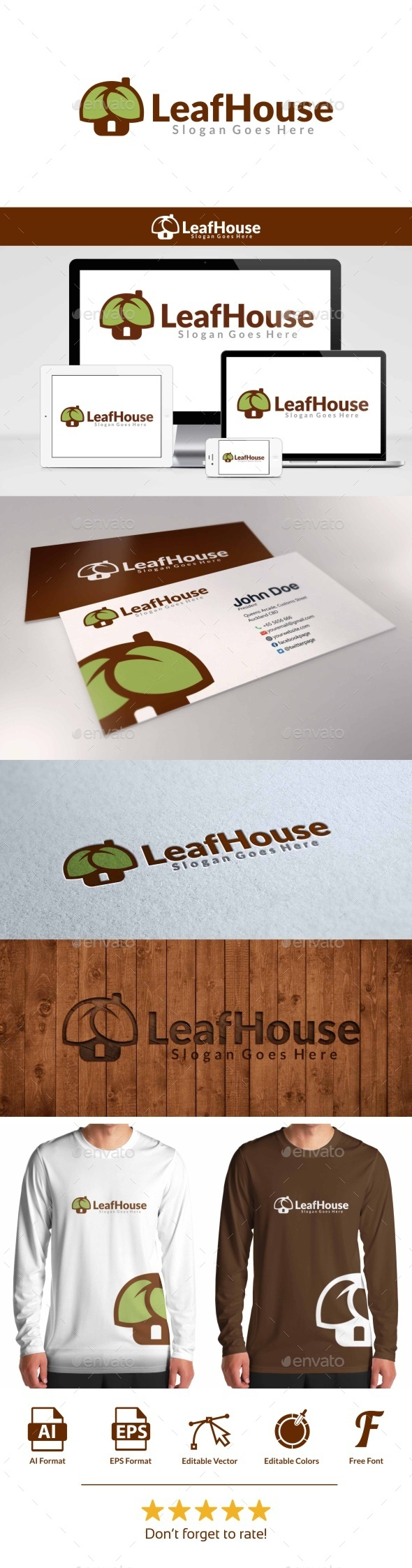 GraphicRiver Leaf House Logo 9526827