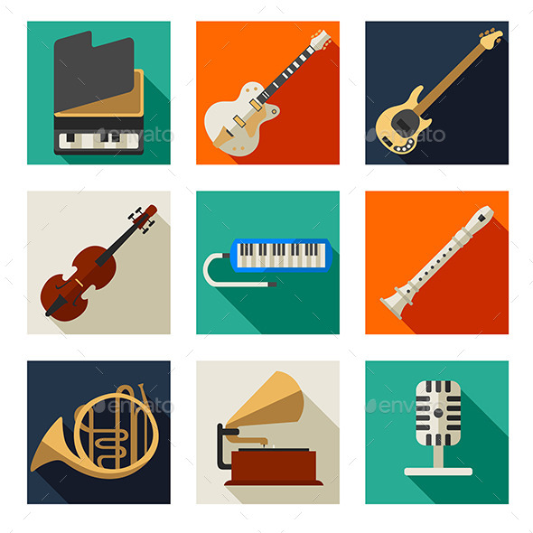 GraphicRiver Musical Instruments Icons 9526902