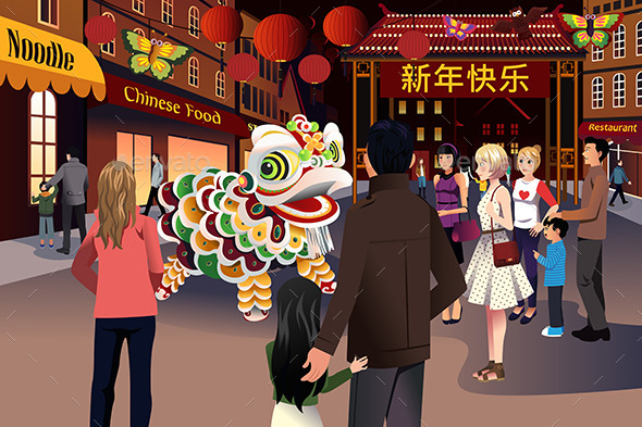 GraphicRiver People Celebrating Chinese New Year 9526952