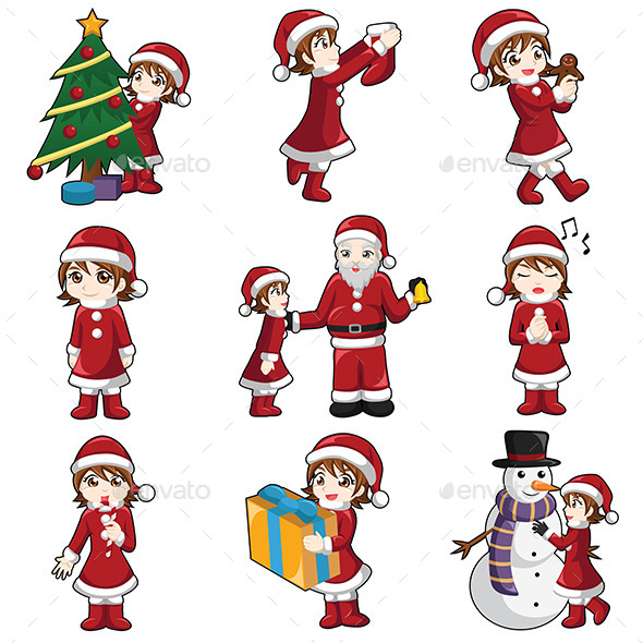 GraphicRiver Girl with Christmas Stuff 9526958